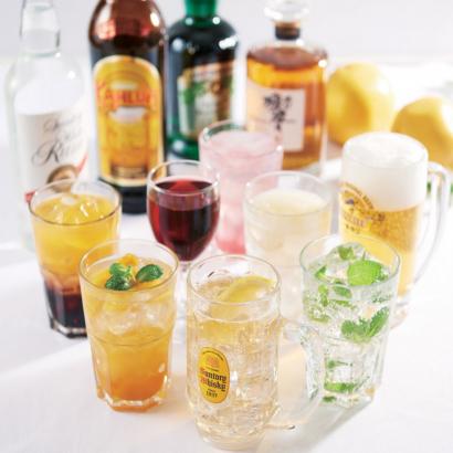 ソフトドリンクからアルコールまで、お好きに選べる飲み放題プラン